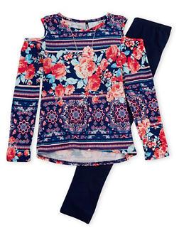 Girls 7-16 Floral Cold Shoulder Top and Leggings Set - 3608061950099