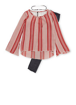 Girls 7-16 Striped Top with Detachable Choker and Denim Knit Leggings Set - 3608061950100