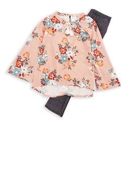 Girls 7-16 Long Sleeve Printed Top with Denim Knit Leggings Set - 3608061950103
