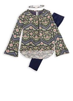 Girls 7-16 Long Sleeve Printed Top with Detachable Necklace and Solid Leggings Set - 3608061950105