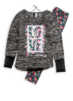Girls 7-16 Graphic Top with Printed Leggings and Necklace - 3608063370001