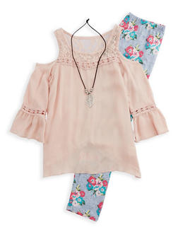 Girls 7-16 Cold Shoulder Top with Printed Leggings and Necklace - 3608063370002