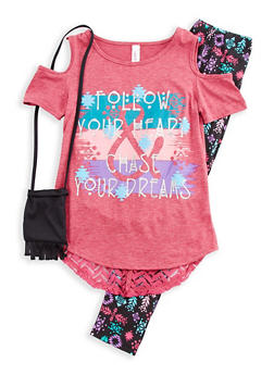 Girls 7-16 Cold Shoulder Graphic Top with Printed Leggings and Purse Set - 3608063370003