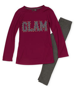 Girls 7-16 Graphic Studded Long Sleeve Top with Leggings Set - 3608073990001