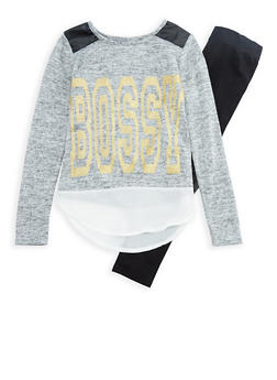 Girls 7-16 Long Sleeve Marled Graphic Top with Leggings Set - 3608073990003
