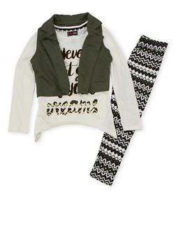 Girls 7-16 Long Sleeve Graphic Top with Vest and Printed Leggings Set - 3608073990004