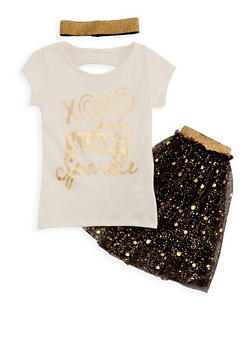Girls 4-6X Always Sparkle Graphic Top and Skirt Set - 3609061950002