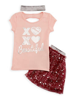 Girls 4-6X Beautiful Graphic Top and Skirt Set - 3609061950003