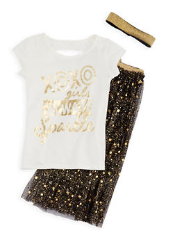 Girls 7-16 Sparkle Graphic Top and Mesh Skirt Set - 3610061950003