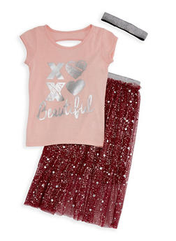 Girls 7-16 Beautiful Graphic Top and Mesh Skirt Set - 3610061950004