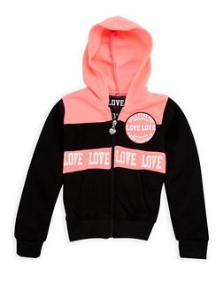 Girls 4-6x Love Graphic Color Block Hoodie - 3611063400008