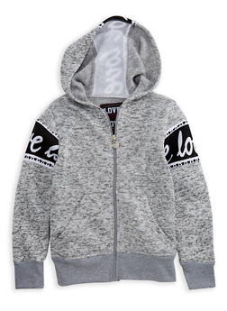 Girls 4-6x Marled Zip Front Graphic Hoodie - 3611063400012