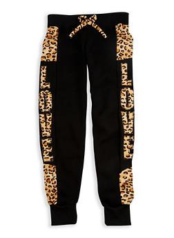 Girls 4-6x Leopard Print Accent Joggers - 3611063400019