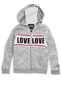 Girls 4-6x Space Dye Zip Front Sweatshirt - 3611063400024