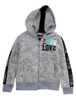 Girls 4-6x Space Dye Multi Color Love Graphic Zip Up Hoodie - 3611063400032