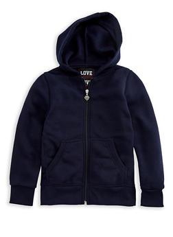 Girls 4-6x Long Sleeve Zipper Front Hoodie - 3611063400037