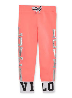 Girls 4-6x Joggers with Metallic Love Appliques - 3611063401113