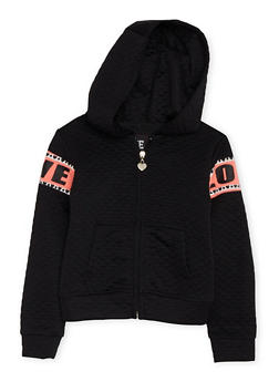 Girls 4-6x Quilted Hoodie with Love Graphics - 3611063401116