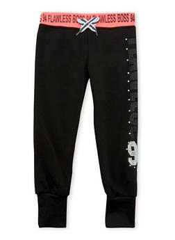 Girls 4-6x Joggers with Studded Flawless 94 Graphic - 3611063401127