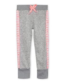 Girls 4-6x Marled Joggers with Love Trim - 3611063401133
