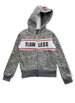 Girls 5-6x Zip Front Hoodie with Flawless and Love Graphic - 3611063401134