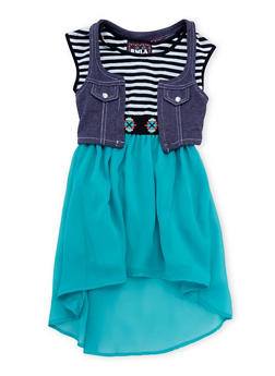 Girls 4-6x Knit Vest and High-Low Dress Set with Necklace - 3614021280001