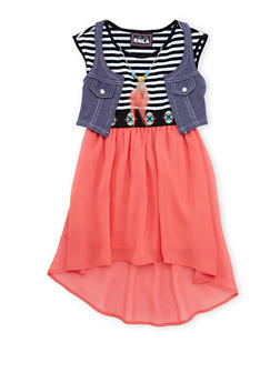 Girls 4-6x Knit Vest and High-Low Dress Set with Necklace - 3614021280002