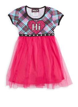 Girls 4-6x Studded Plaid Tulle Skater Dress - 3614021280003