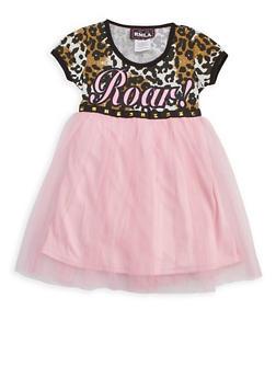 Girls 4-6x Roar Mesh Dress - 3614021280004