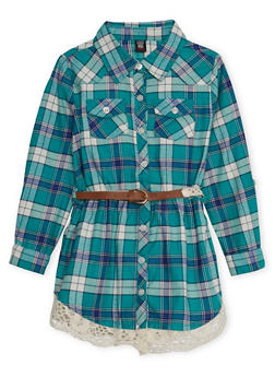 Girls 4-6x Plaid Button-Down Shirt Dress with Belt and Crochet Trim - GREEN - 3614023130001