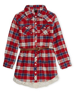 Girls 4-6x Plaid Button-Down Shirt Dress with Belt and Crochet Trim - RED - 3614023130001