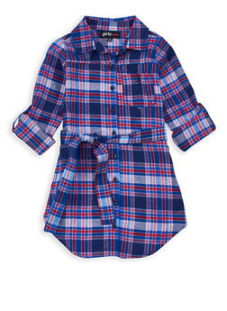 Girls 4-6x Button Front Plaid Dress - 3614038340004