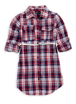 Girls 4-6x Belted Button Front Plaid Dress - 3614038340005