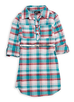 Girls 4-6x Belted Button Front Plaid Dress - 3614038340006