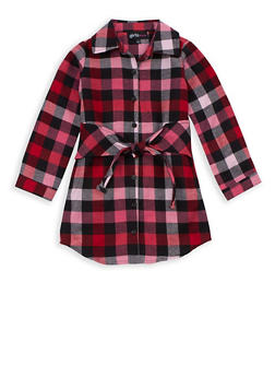 Girls 4-6x Plaid Button Tie Front Dress - 3614038340007