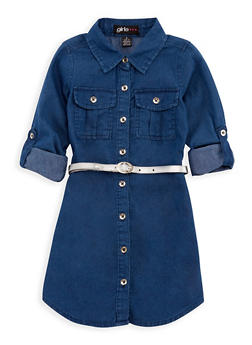 Girls 4-6x Denim Shirt Dress with Belt - 3614038340008