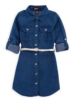 Girls 4-6x Denim Shirt Dress with Belt - 3614038340008