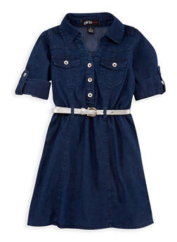 Girls 4-6x Denim Shirt Dress with Belt - 3614038340009
