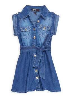 Girls 4-6x Belted Button Front Denim Dress - 3614038340010