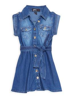 Girls 4-6x Belted Button Front Denim Dress - 3614038340010