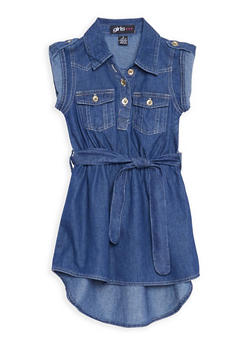 Girls 4-6x Belted High Low Denim Dress - 3614038340011