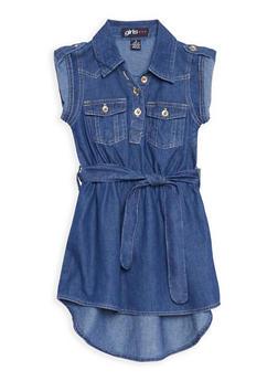 Girls 4-6x Belted High Low Denim Dress - 3614038340011