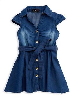 Girls 4-6x Short Sleeve Button Front Denim Dress with Tie Waist - 3614038340012