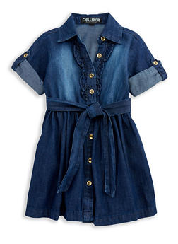 Girls 4-6x Button Front Denim Dress - 3614038340013