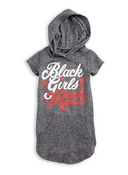 Girls 4-6x Short Sleeve Black Girls Rock Graphic Hooded Top - 3614038340020