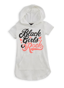 Girls 4-6x Short Sleeve Black Girls Rock Graphic Hooded Top - 3614038340020