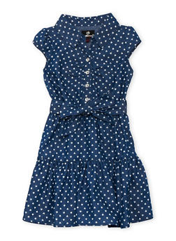 Girls 4-6x Heart Print Chambray Dress - LIGHT WASH - 3614054730003