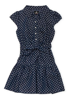 Girls 4-6x Heart Print Chambray Dress - DARK WASH - 3614054730003