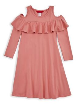 Girls 4-6x Long Sleeve Cold Shoulder Ruffled Dress - 3614060580002