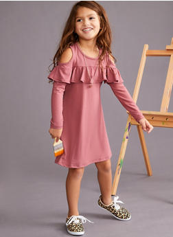 Girls 4-6x Long Sleeve Cold Shoulder Ruffled Dress - 3614060580003